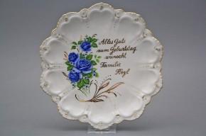 Dárkový závěsný talíř 19cm Vanda Modrá růže GL