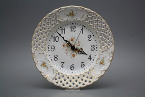 Talířové hodiny prolamované 24cm Čajové růžičky GL