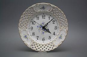 Talířové hodiny prolamované 24cm Světlemodré růžičky GL